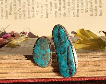 Kingman Turquoise Open Setting Ring, Statement Ring, Sterling Silver