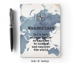 Wanderlust - Writing Journal, Hardcover Notebook, Sketchbook, Blank or Lined Pages, 5x7 Diary, Travel Journal, Definition, Vintage Map