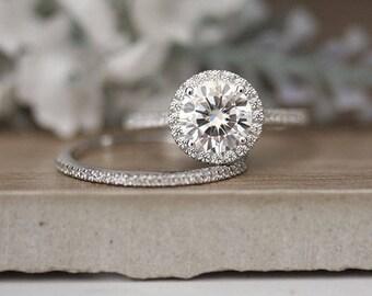 Engagement Ring, Moissanite Round 9mm Forever Brilliant Ring, Diamond Halo Ring, 14k White Gold Moissanite Wedding Ring Set, Bridal Ring
