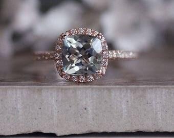 Rose Gold 7mm Cushion Aquamarine Engagement Ring, Wedding Ring, 14k, Rose Gold Ring, Bridal Ring, Diamond Halo Natural Aquamarine Ring