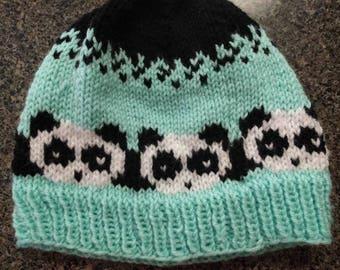 Panda Bear Knit Hat