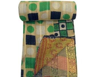Handmade Cotton Kantha Quilt Twin Sari Kantha Blanket