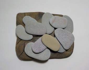 "11 Medium 2.2-2.9""/5.7-7.5 cm  Flat Beach stones-Guest book-Flat Sea Stones-Decorative Beach Finds #13"