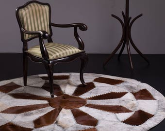 Modern Cowhide Patchwork Area Rug Round, Handmade, Hair-on-Hide, Brown White, 6'7""