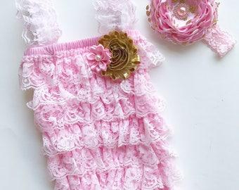 pink lace romper - pink baby romper - pink and gold baby headband - baby shower gift - baby lace romper - newborn romper set