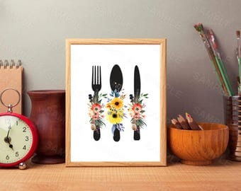 Kitchen Art Print, Kitchen Floral  Wall Decor, Instant Download, Printable Kitchen Decor, Digital Art Print, Utensils  Kitchen Printable