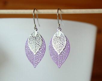 filigree leaf earrings violet purple and silver