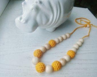 Yellow nursing necklace Crocheted teething  Babywearing Breastfeeding New mom gift Baby shower New Wooden beaded necklace Easter sale