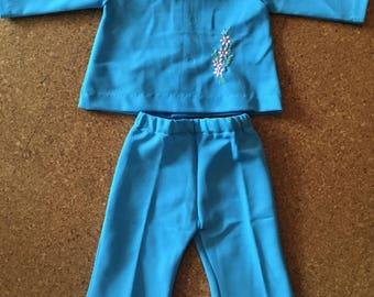 Vintage cornflower blue trouser suit - 12 months.