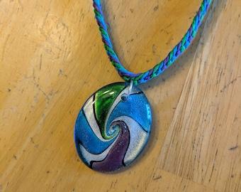 Spiral Pendant Necklace, Green Hemp Necklace, Blue Hemp Necklace, Purple Hemp Necklace, Cool Colored Necklace, Swirl Pendant Necklace
