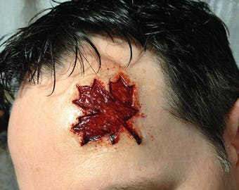 Maple Leaf Wound Prosthetic, Carved Canada Day SFX Prosthetic Appliance, MapleLeafs Horror Injury Make-up