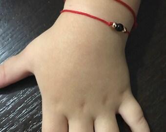 Azabache kids -NOW GOLD FILLED- protection from evil eye -red string - red cord bracelet - mal de ojo - evil eye bracelet- baby azabache