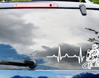 Firefighter Heartbeat Decal, Firefighter Decal, Fireman Decal