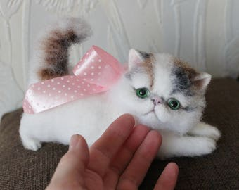 Needle Felted Cat - Miniature Animal. ***READY TO SHIP*** Needle Felt Cat, Felt Cat, Cat Sculpture, Doll house cat