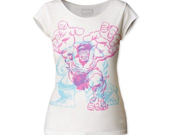 Incredible Hulk Charging Women's Soft Fitted 30/1 Cotton Cut Tee (HULKCT01) Vintage White