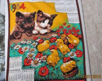 Vintage French Cloth, french dishcloths, cat collectibles, chicken collectibles, kitchen collectibles