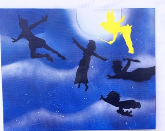 Peter Pan, tinkerbell, Disney, spray paint art, Peter pan movie, disney peter pan, pan movie, wendy, captain hook, peter pan once upon atime
