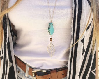 Turquoise Necklace, Long Turquoise Necklace, Turquoise and Leaf Necklace, Boho Turquoise Necklace, Boho Necklace, Layered Necklace