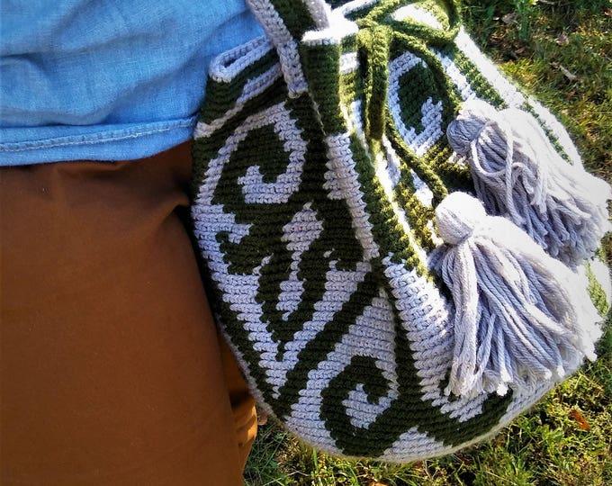 READY TO SHIP!!! Wayuu Tapestry Crochet Drawstring Handbag