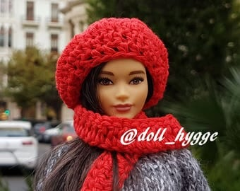 Handmade knitted beret and scarf for a barbie doll