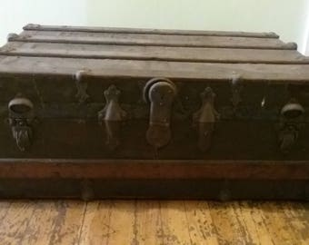 Antique Steamer Trunk, Wood Steamer Trunk, Wood and Metal Trunk, Old Steamer Trunk, Train Trunk, Farmhouse Antiques, Wooden Chest