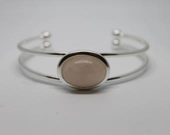 Rose Quartz Silver Cuff Bracelet