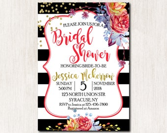Bridal Shower invitation, Bridal Shower Invitation, Birthday Party Invitation, Party Invitations, Black and White stripes - 1787