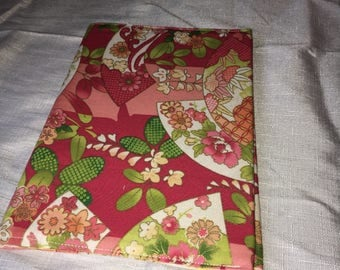 Fabric covered A5 notebook - reusable cover, lined
