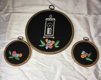 Set of 3 embroidered hoops - cross stich and floral