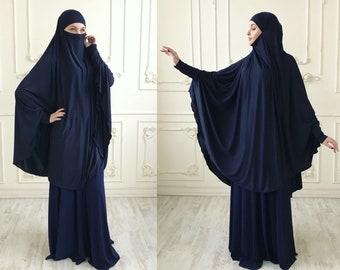 Transformer dark blue Khimar, niqab transformer,indigo niqab, navy nikab, traditional hijab,ready to wear hijab, long hijab,burqa, abaya