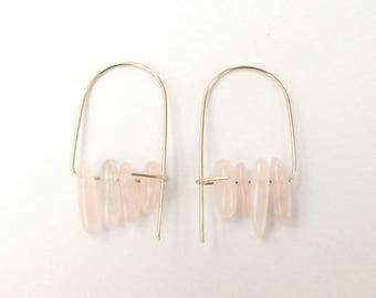 Rose quartz earrings, Quartz earrings, Gemstone earrings, Brass quartz earrings, Quartz drop earrings, Rose quartz gold earrings