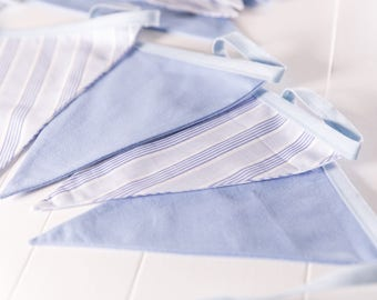 Blue Stripy and Plain Blue Handmade Bunting, blue wedding, Perfect for a little boys room or as a party banner