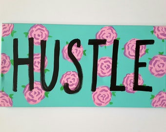 Hustle Wall Canvas - Word Art Canvas - Inspirational Quote Canvas - Motivational Quote