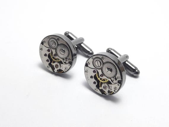 Charcoal round mechanical watch movement cuff links