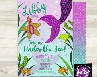 Mermaid Birthday Invitation, Mermaid Invite, Little Mermaid, Party, Ariel, Under the Sea Invite, Pool Party, Mermaid Tail Invite