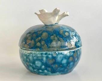 Handmade Ceramic White Doves Jewelry Box in Monsoon Blue