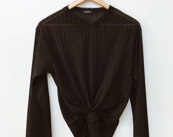 Black Long Sleeved SemiSheer Blouse Shirt 90s