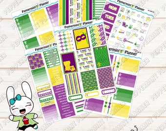 Mardi Gras Weekly Kit --- Planner Stickers --- For use with the Classic HP  --- 02