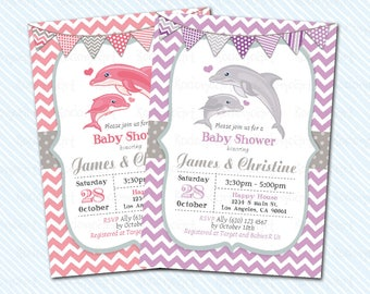 Digital Printable Dolphin baby shower. Whale baby Shower Invitation.
