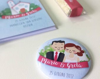 Magnet with custom portrait Weds • wedding favors-Wedding place cards