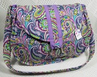 Quilted Shoulder Purse, Lavendar Multi-Color Bag, Paisley Shoulder Bag, Quilted Purse, Homemade Quilted Purse, Purple Paisley Purse