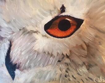 White Owl Original Oil Painting