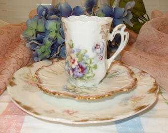 Mismatched Teacup Trio Limoges Demitasse Teacup Vintage Shabby Chic Cottage Garden