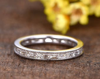 Diamond wedding band,2.2ctw diamond bridal promise ring,full eternity band,Solid 14k white gold,gorgeous bridal ring,Baguette diamond band