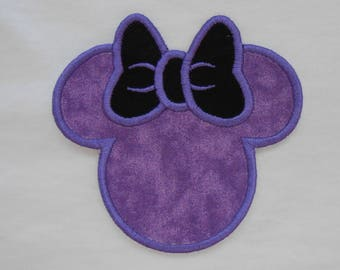 Black and Purple Minnie Mouse Iron on Applique Patch