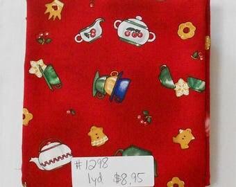 Fabric -1yd piece-Christmas/Xmas/Winter-Snowfolks Tea Party Jo Wecker-Frisch/Tea pots/cookies/cherries/tea bags/red background (#1298)