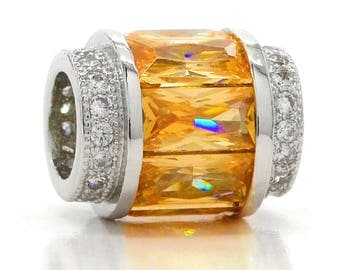 Citrine colored baguette real 925 sterling silver charm with clear white round gems, orange sparkly gems, purple gift bag black charm box