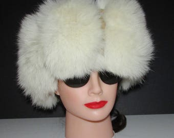 "Superbe bandeau de fourrure de renard  blanc pur/Superb fluffy  pure white fox fur headband  22"" to 24"""