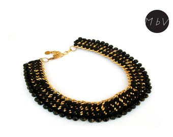 Fashion Jewelry Modern Black Chrochet Bib Necklace With Metal Chain, Cotton and Plastic Beads