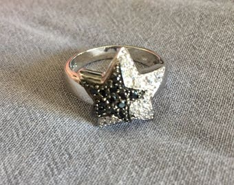 Double Star black and white silver ring